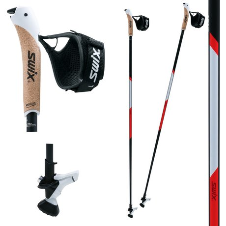 SWIX NW CT2 Red Twist & Go, Nordic Walking Stöcke 135 cm